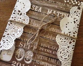 Rustic Wedding Invitation,Barn Wedding Invitation,Country Wedding Invitation,Wood Wedding Invitation, Doily Wedding Invitation