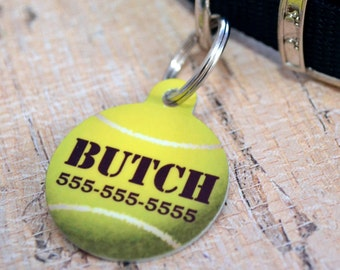 Personalized Tennis Ball Pet ID Tag - CUSTOM - Key Chain, Dog Tag, Pet Identification