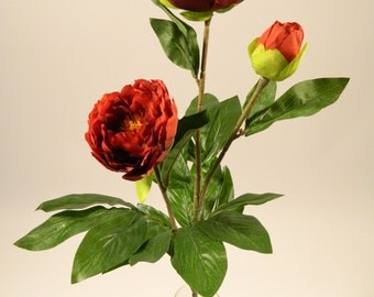"Christmas Decoration Silk Peony Spray in Red - 25"" Tall"
