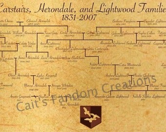 Carstairs, Herondale, and Lightwood Families Family Tree Poster