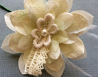 Pearl Paper Flower Buttonhole for groomsmen, perfect to add a unique touch to your wedding day