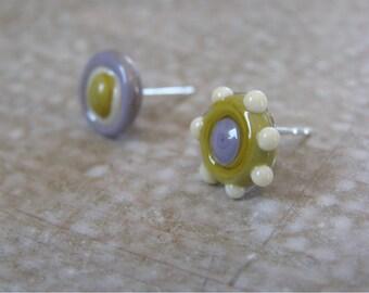 Stud Earrings, Minimalist Earrings, Girlfriend Earrings, Lampwork Jewelry, Glass Bead Jewelry, Beadwork Jewelry
