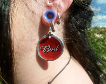 Upcycled Budweiser Bottle Cap Earrings