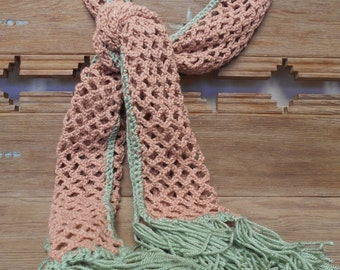 Crochet Scarf - Moss Green and Beige Open Web Crochet Scarf with Fringe -  [#130 - DC - Shelf 3 M]