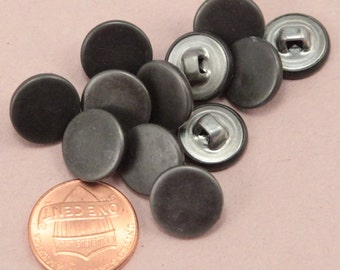 "Lot of 12 Small Silver & Grey Tone Metal Shank Buttons 1/2"" 13mm (#6313)"