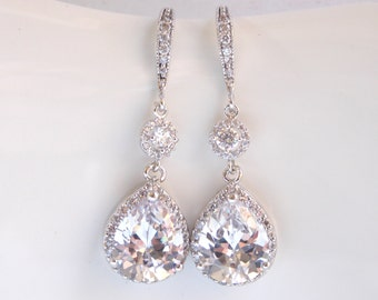 Wedding Jewelry, Silver, Cubic Zirconia, Bridal Jewelry, Bridal Earrings, Bride Earrings, Bridesmaid Earrings, Dangle Long, Bridesmaid Gifts