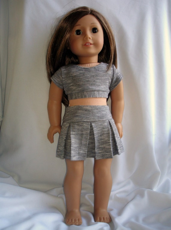 Trendy gray and black stripe knit crop top and pleated skirt for 18 inch doll such as American Girl