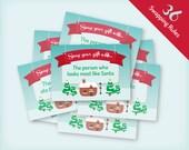Printable Christmas Gift Exchange Party Game - Vintage village design, 36 rule cards, Yankee Swap, White Elephant, Instant digital download