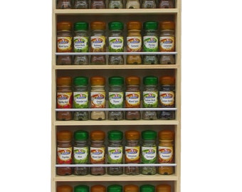 Spice Rack Contemporary Style Solid Pine 5 Shelves, Freestanding or Wall Mounted Wooden Kitchen Storage, 73.5cm Tall x 7cm Deep