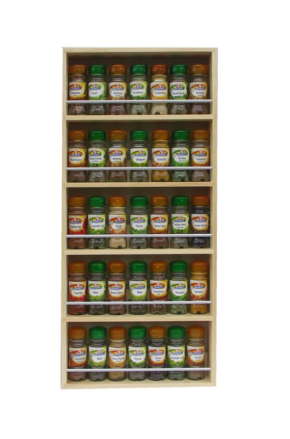 Solid Pine Spice Rack Contemporary Minimalist Style 5 Shelves