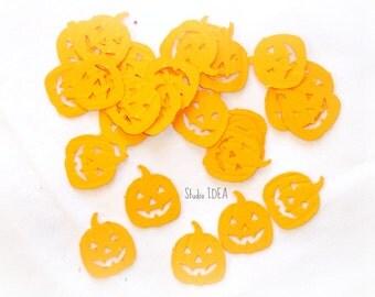 100 Orange Embossed Pumpkin, Jack o' Lantern  Cut outs, Confetti - Set of 100 pcs