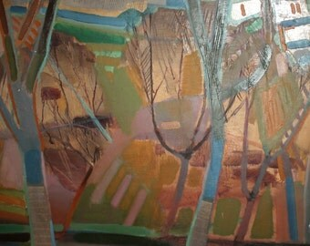 European vintage expressionist oil / collage painting