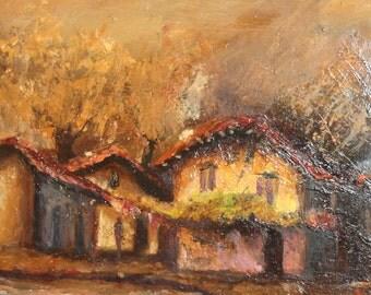 Vintage impressionist oil painting village scene