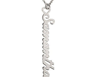Personalized Vertical Name Necklace , Customized Name Necklace Sterling Silver , Choose Any Name , Nameplate Necklace , Bridesmaid Gift