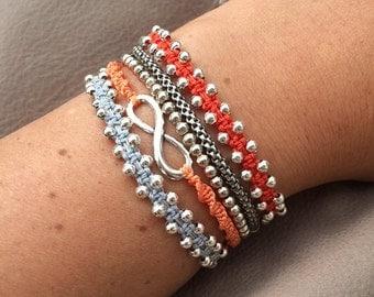 Handmade silver beaded macrame bracelet
