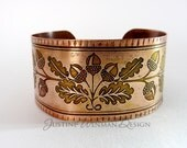 Copper Cuff Etched w/ Acorn & Oak Leaf Motif, Nature, Botanical Design, Woman's Bracelet