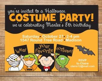 Halloween Party Invitation, Kids Halloween Invite, DIY, Printable, Halloween Favors, Monsters Invite, Mummy, Frankenstein, Digital File