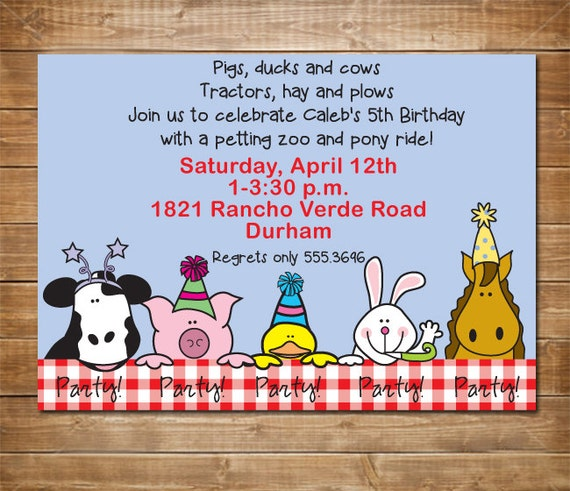Items Similar To Petting Zoo Invitation, Farm Party, Zoo