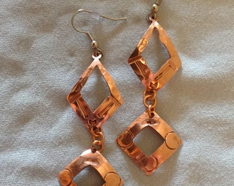 Hand-Stamped Copper Double-Drop Earrings - Diamonds/Squares