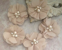 Chiffon flowers, pearl and rhinestone flowers, headband flowers, fabric flowers, material flowers, lace flowers, supply flowers, tan flowers