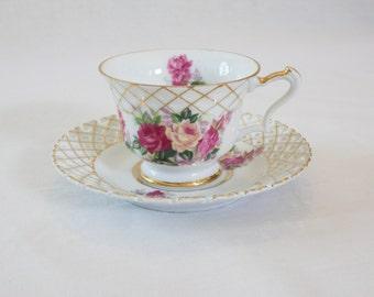 Vintage Gold and Floral Teacup