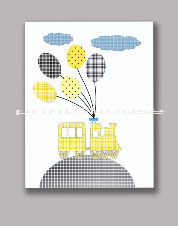 Nursery curtains playrooms : ... decor baby nursery children kids art yellow gray playroom 8x10