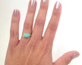 Sea Glass Green and Gold Plated Wire Wrapped Ring