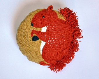 Crochet Squirrel Pillow