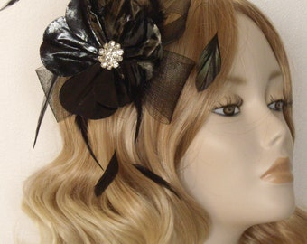 PATENT FLOWER FASCINATOR, With crystal detail, on a comb, Colour Black
