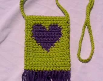 Hand Crocheted Heart Bag