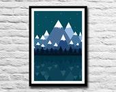 Mountain illustration art print - Night - Trees - Forest - Mountains illustration - Mountain art - Mountain scene - Office art - Home decor