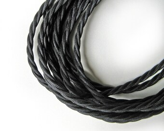 Wire by METER Black Twist Fabric Cloth Covered Wire Electrical Cord | Braided | 3 core | Vintage Industrial Pendant Lamp Lighting Rewiring
