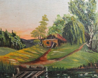 1946 oil impressionist  landscape oil painting