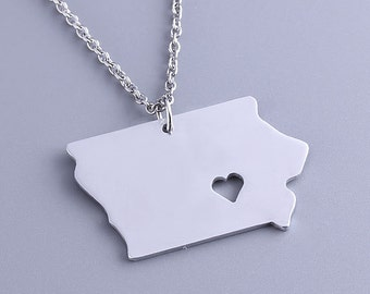 I heart Iowa Necklace - Iowa Pendant - State Charm - Map necklace - Map Jewelry
