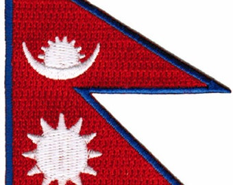NEPAL FLAG PATCH iron-on embroidered applique Top Quality