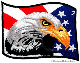 BALD EAGLE Waving American Flag PATCH embroidered iron-on Patriotic
