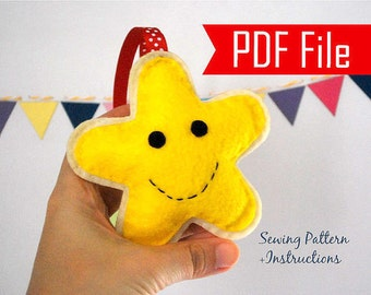 Christmas Star Pattern, Felt Ornament, Christmas Ornament Pattern, Christmas Tree Star , Pdf Cookie Ornament ,Instant Download A870