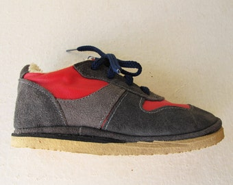 Vintage Kids Shoes, Soviet New Old Stock Red and Gray Russian Kids Sneakers. Made in USSR Kids Shoes. Collectible