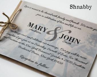 Rustic kraft paper wedding invitation set with vellum overlay, Vintage Wedding, Organic wedding, Eco-Friendly wedding, Marry line invite