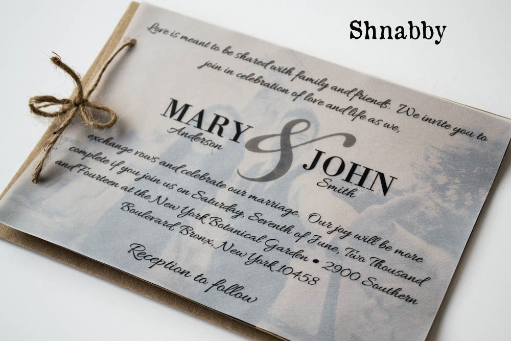 Rustic kraft paper wedding invitation set with vellum overlay