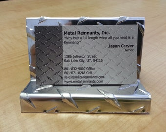 Aluminum Diamond Plate Business Card Holder