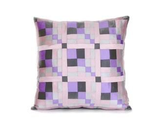 Pink Pillow Case, Patchwork Pillow, Satin Throw Pillow, lavender Pillow Case, Decorative Pillows, Satin Pillow Cover, Patchwork Cushion,