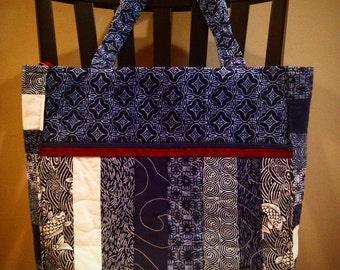 In Stock: Japanese Kimono Print Craft/Utility/Diaper Tote 14025