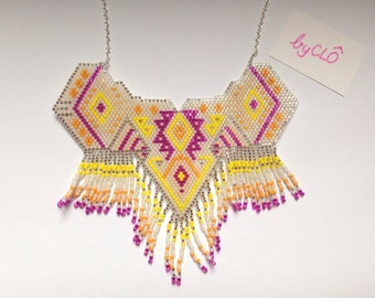 Handmade brick stitch necklace (yellow, fushia and orange)