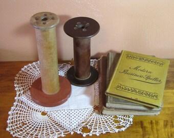 Two (2) Vintage Wooden Bobbins