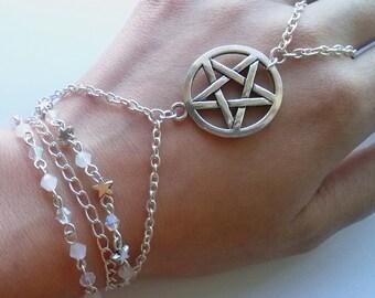 Silver Plate Pentagram Slave Bracelet , Wicca Slave Bracelet , Beaded Wiccan Bracelet , Wiccan Jewelry
