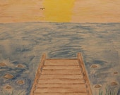 Dock, fishing, water scene, ocean view, water lover, sea lover, boat lover, sailing, beach, decor, beach decor, sunset, sunset painting