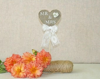 Mr. & Mrs. Rustic Wedding Cake Topper, Burlap Topper, Wedding Topper