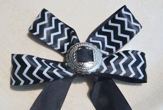 Long Tail Bow - Black and White Chevron Bow with Silver Jewel- Embellished Bobby Pin