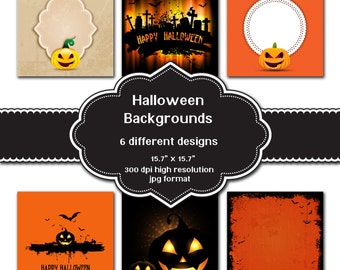 INSTANT DOWNLOAD - Collection of digital Halloween backgrounds with 6 different designs
